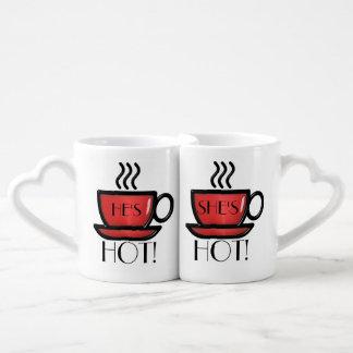 He's She's Hot Love Mugs Couples' Coffee Mug Set