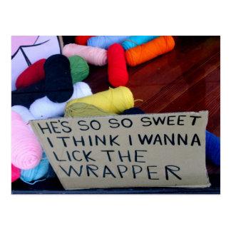 He's So So Sweet I Think I Wanna Lick The Wrapper Postcard