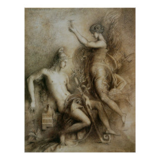 Hesiod and Muse Symbolist Art by Gustave Moreau Poster