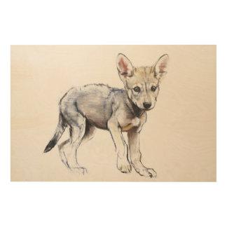 Hesitating Arabian Wolf Pup 2009 Wood Wall Decor