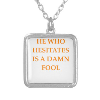 hesitation square pendant necklace