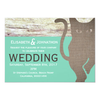 Hessian Cat Wedding Invitation