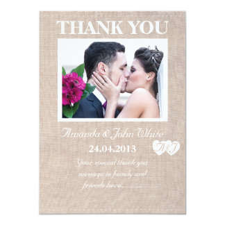 Hessian Wedding Thank You Card 11 Cm X 16 Cm Invitation Card