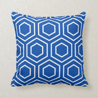 Hex Pattern Geometric Pillow in Cobalt Blue