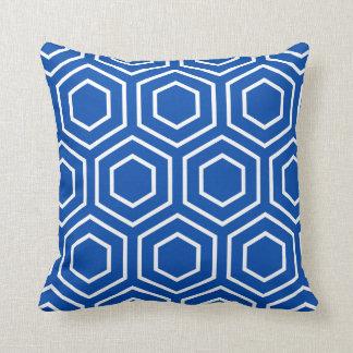 Hex Pattern Geometric Pillow in Cobalt Blue Throw Cushions