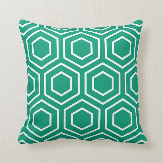Hex Pattern Geometric Pillow in Emerald Green