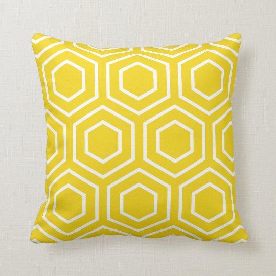 Hex Pattern Geometric Throw Pillow in Lemon Yellow
