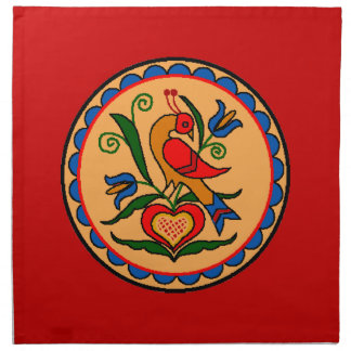 Hex Sign Bird in Red Cloth Napkins