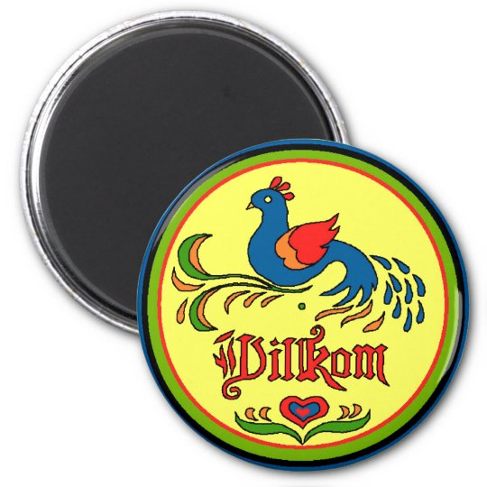 Hex Sign Welcome Bird 6 Cm Round Magnet