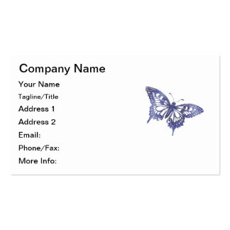 Hex Tiles Mosaic Butterfly in Blue Business Card Templates