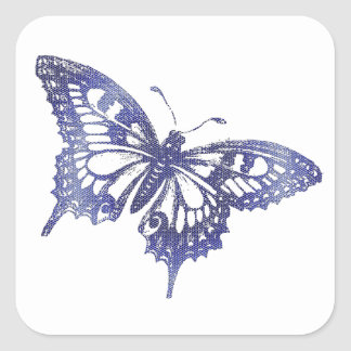 Hex Tiles Mosaic Butterfly in Blue Square Sticker