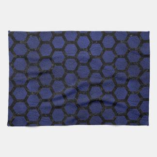 HEXAGON2 BLACK MARBLE & BLUE LEATHER (R) TEA TOWEL