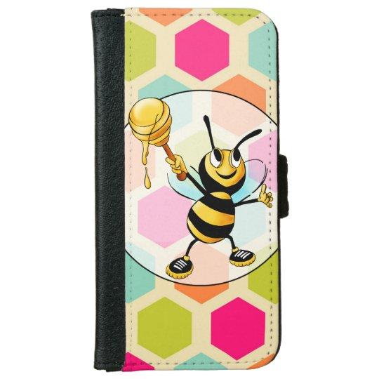Hexagon Background with Honey Bee iPhone 6 Wallet