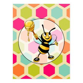 Hexagon Background with Honey Bee Postcard