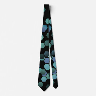 Hexagon geometric futuristic fashion tie