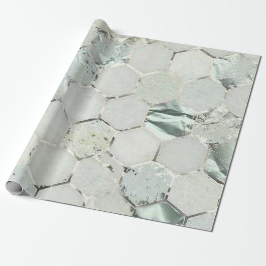 Hexagon Mint Tiffany Aqua Silver Marble Shiny Wrapping