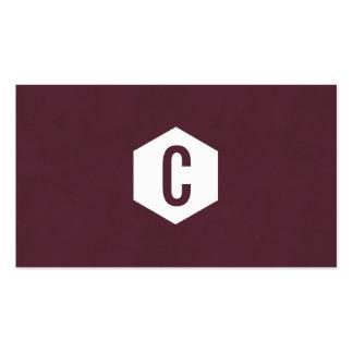 Hexagon monogram burgundy business cards
