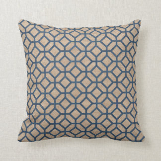 Hexagon Pattern Denim Blue and Tan Cushion