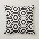 Hexagon Pattern Ivory on Black Cushion