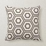 Hexagon Pattern Ivory on Brown Cushion