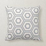 Hexagon Pattern Ivory on Grey Cushion