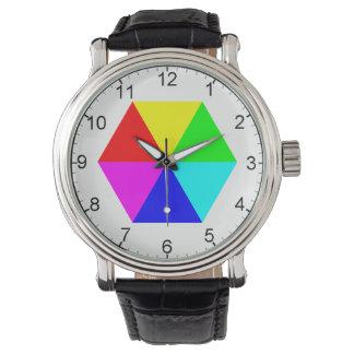 Hexagon Rainbow Black Leather Wristwatch
