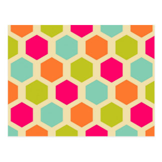 Hexagon Shapes in Vintage Colors Pattern Postcard