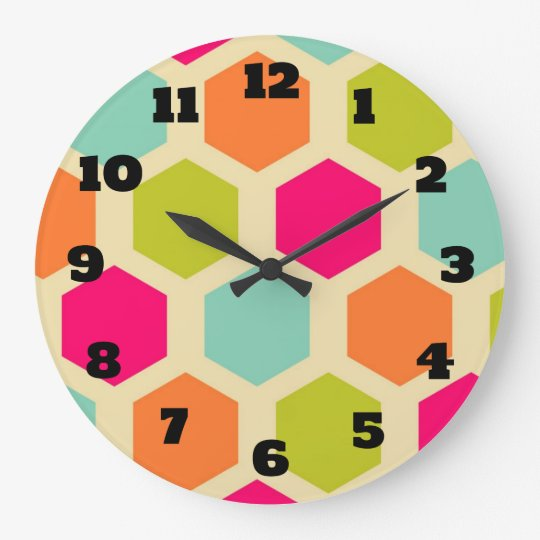 Hexagon Shapes in Vintage Colours Pattern Large Clock