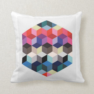 Hexagon Square Colorful Rainbow Pattern Pillow