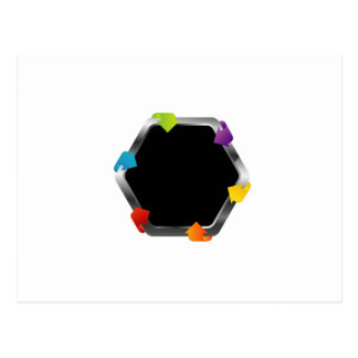 Hexagon with colorful arrows postcard