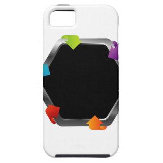 Hexagon with colorful arrows tough iPhone 5 case