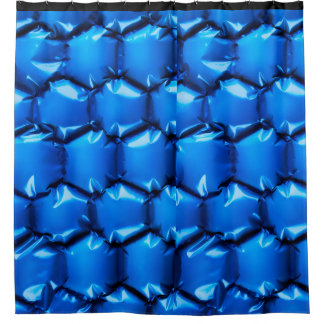 Hexagonal bubble texture background in blue shower curtain