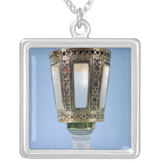 Hexagonal cup silver plated necklace