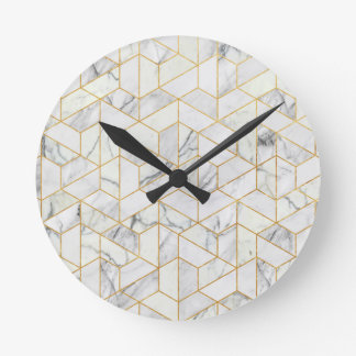 Hexagonal geometric marble round clock