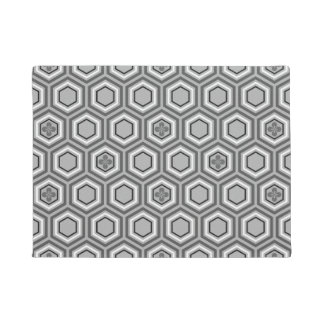 Hexagonal Kimono Print, Gray / Grey and White Doormat