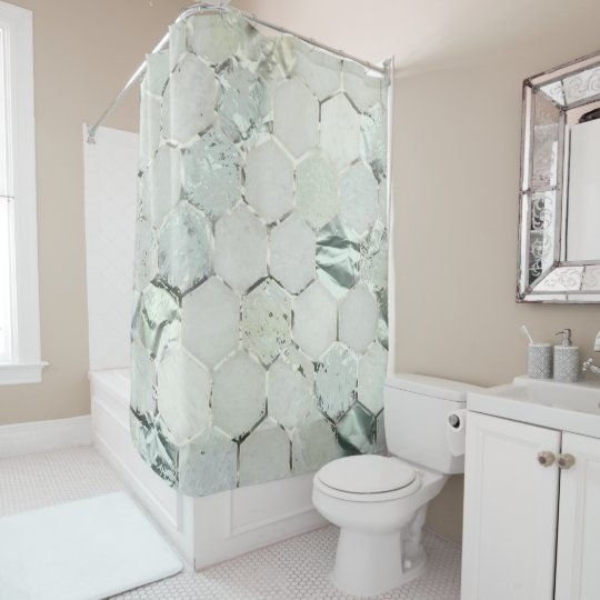 Hexagone Marble Mint Aqua Metallic White Gray Shower