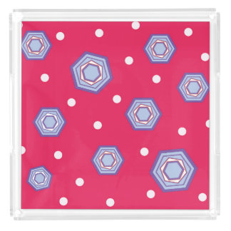 Hexagons Crimson Pink Serving Tray