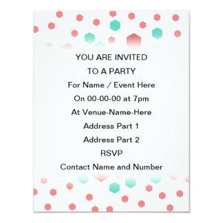 Hexagons Pattern. 11 Cm X 14 Cm Invitation Card