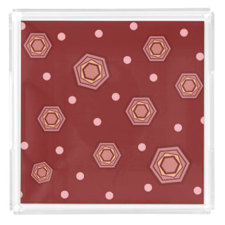 Hexagons Red Tray
