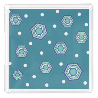 Hexagons Teal Tray