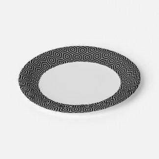 Hexagons texture geometric pattern paper plate