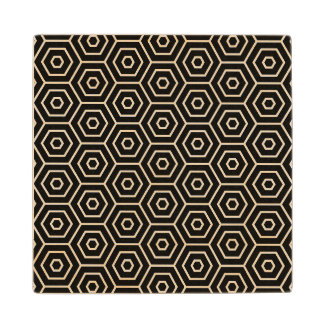 Hexagons texture geometric pattern wood coaster