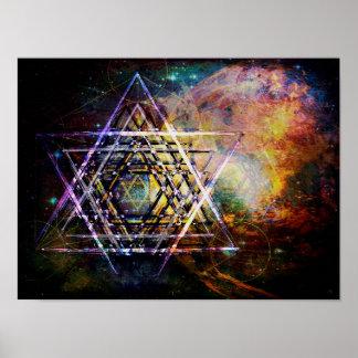 Hexagram sacred geometry symbol hexagram poster