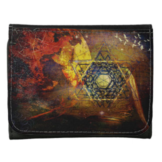 Hexagram sacred geometry symbol leather wallet