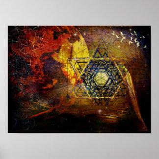 Hexagram, sacred geometry symbol poster