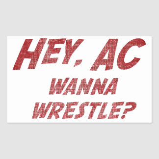 Hey AC Want to Wrestle Rectangle Sticker