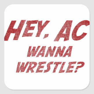 Hey AC Want to Wrestle!? Square Sticker