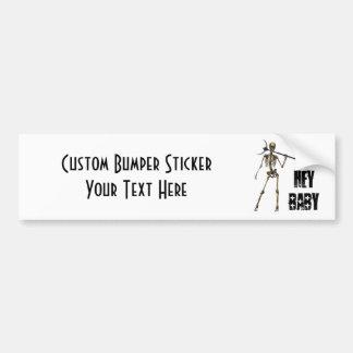 HEY BABY Skeleton Creep Black Bumper Sticker