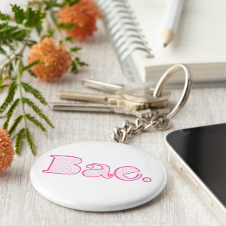Hey Bae. girlfriend boyfriend slang Basic Round Button Key Ring