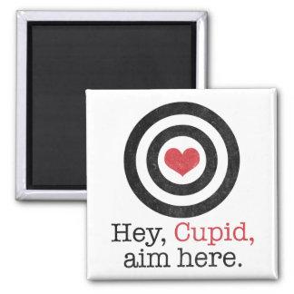 Hey Cupid Aim Here Funny Valentine Refrigerator Magnet